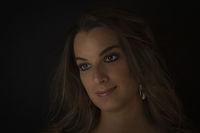 Portrait against black background