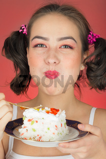 girl with sweet dessert