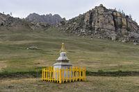 Stupa in the steppe landscape, Gorkhi-Terelj National Park, Mongolia