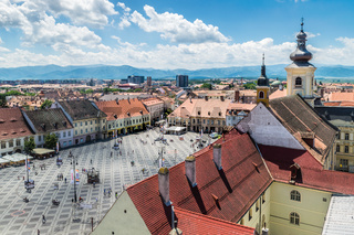 A view to the Sibiu's historical center from above
