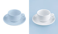 Cup on white & blue background
