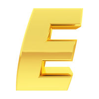 Gold alphabet symbol letter E with gradient reflections isolated on white. High resolution 3D image