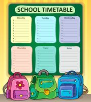 Weekly school timetable composition 7 - picture illustration.