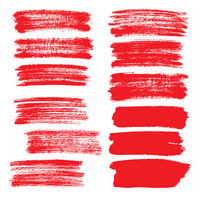 Set of red flat brush strokes