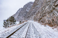 View of Circum-Baikal Railway at winter day time.