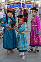Three girls in traditional  festive garment, Ulaanbaatar, Mongolia