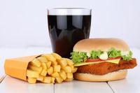 Fischburger Fisch Burger Backfisch Hamburger Menu Menü Menue Pommes Frites Cola Getränk ungesunde Ernährung