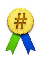 hashtag ribbon badge