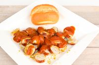 curry sausage with roll