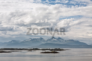 Mountain view with some islands in the fjord in Molde, Norway