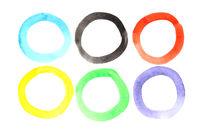 Set of watercolor rings
