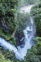 Waterfall Pailon del Diablo in the Andes mountain rainforest. Banos. Ecuador