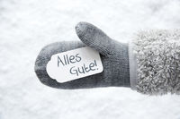 Wool Glove, Label, Snow, Alles Gute Means Best Wishes