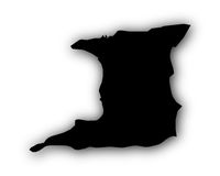 Karte von Trinidad und Tobago mit Schatten - Map of Trinidad and Tobago with shadow