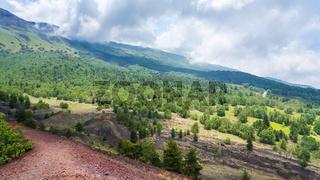 landscape with gentle slope of Etna volcano