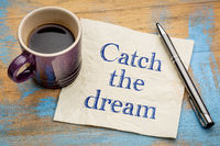 Catch the dream inspirational writing on napkin