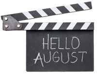Hello August text on clapboard
