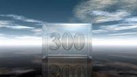 die zahl dreihundert in glaswürfel unter wolkenhimmel - 3d illustration