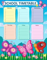 Weekly school timetable concept 4 - picture illustration.