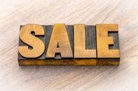 Sale banner in letterpress wood type