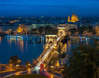 Panoramic view of Budapest, Hungary, with the Chain Bridge