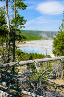 Excelsior Geyser Yellowstone Park view from the mountain
