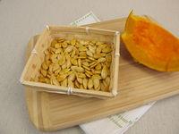 Pumpkin seeds from red kuri squash