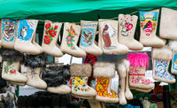 Felt  boots at the fair in Suzdal. Russia