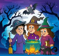 Three witches theme image 3 - picture illustration.