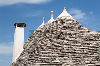 Details of typical conical roofs in Alberobello, Puglia, Italy