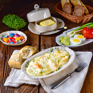Rustic spring egg salad with leek