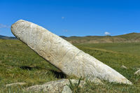 Megalith called deer stone,  grave site from the Bronze Age, Mongolia