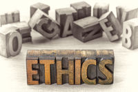 ethics word  abstract  in letterpress wood type