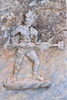 in fighting pose on marble in the St. John's Basilica ruin Selcuk
