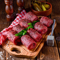 a tasty and fresh raw beef roulades