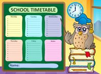 Weekly school timetable concept 8 - picture illustration.