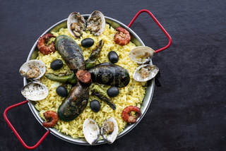 mixed seafood and rice paella famous traditional portuguese spanish meal