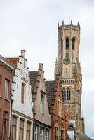 Detail of the Bruges Belfry in the city centre in Bruges, Belgium.