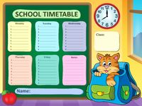Weekly school timetable concept 3 - picture illustration.
