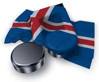 musiknote und isländische flagge - 3d illustration