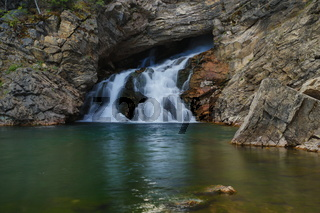 Running Eagle or Trick Falls in the Two Medicine area of Glacier National Park in the Rocky Mountains of Montana