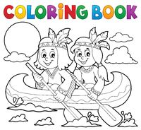 Coloring book Native Americans in boat