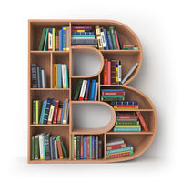 Letter B. Alphabet in the form of shelves with books isolated on white.