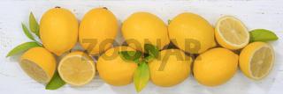 Zitrone Zitronen Früchte Banner von oben