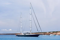 Vessels at Cala Saona bay in Formentera. Balearic Islands. Spain