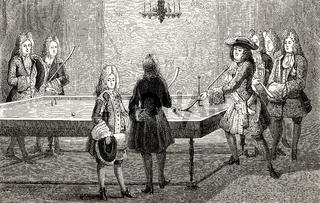 Louis XIV playing billiards, Versailles, France, 1694