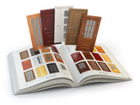 Selection of wooden doors by catalog with samples. Interior design and construction concept.