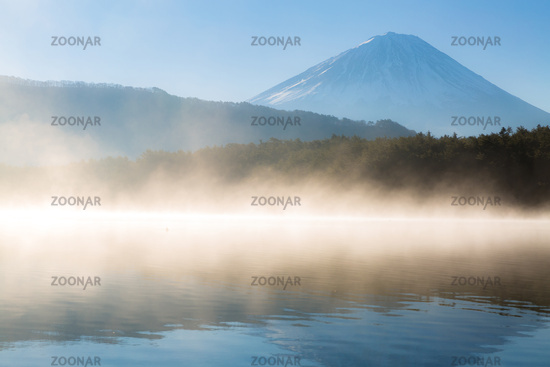 Mountain Fuji in winter sunrise Lake Saiko