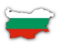 Karte und Fahne von Bulgarien - Map and flag of Bulgaria