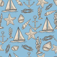 Naval hand drawing seamless pattern.